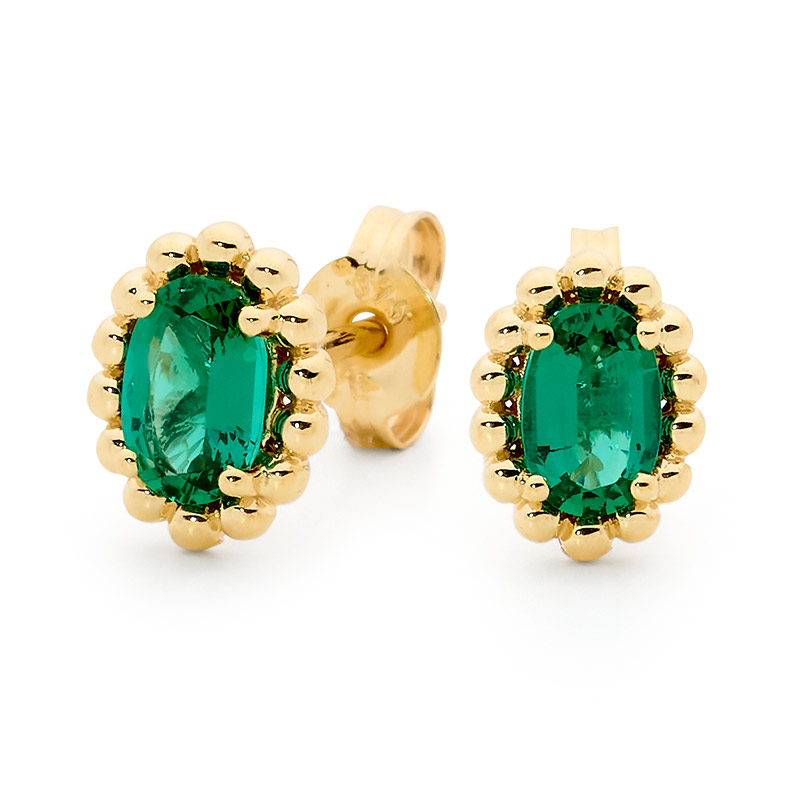 Emerald Earrings with Gold Bead Surround