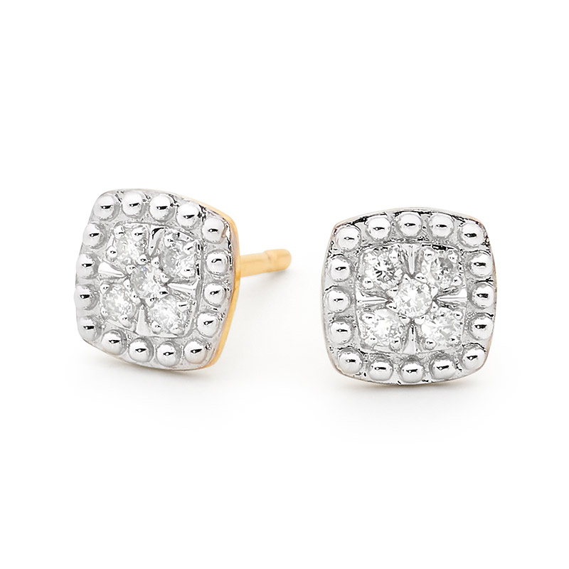 Cushion Shape Diamond Ear Studs