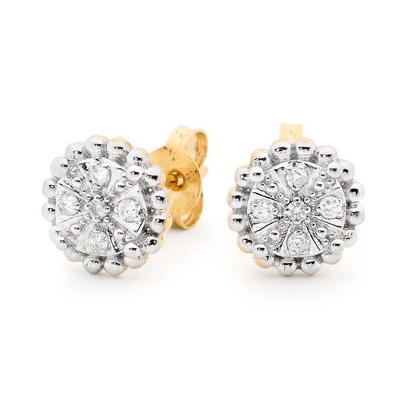 Diamond Encrusted Flower Earrings
