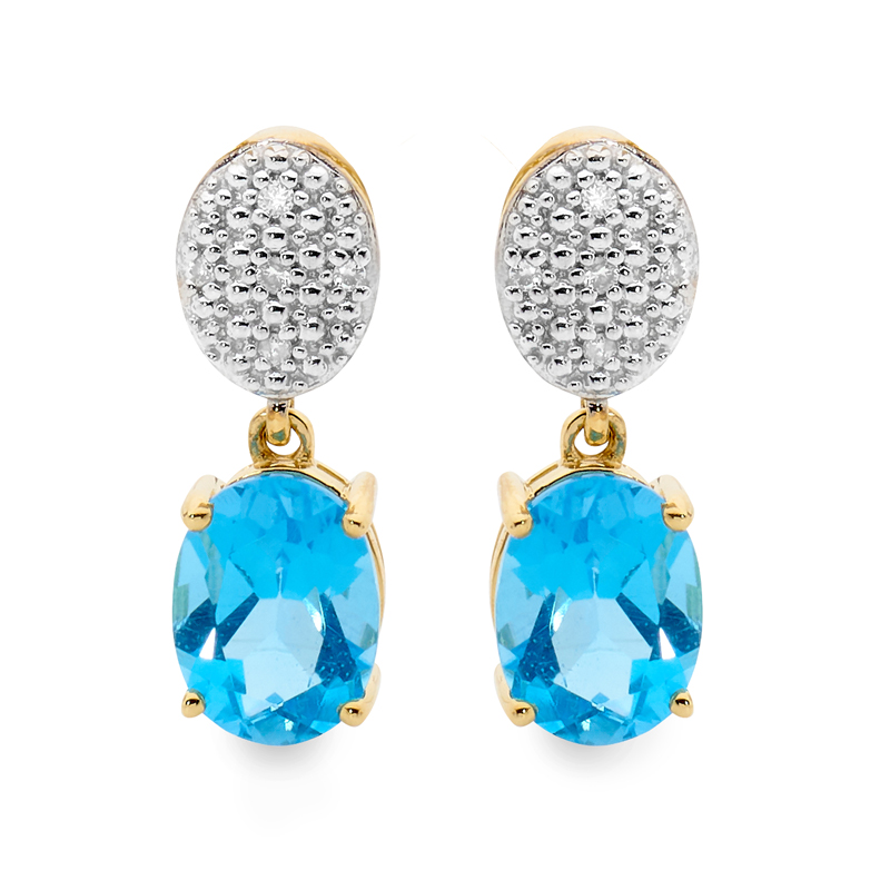 Blue Topaz and Diamond Drop Earrings