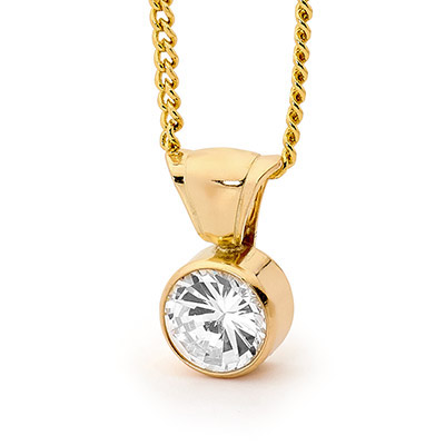 Solitaire Zirconia Pendant - 6.0 mm