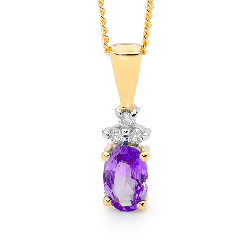 Classic Amethyst and Diamond Pendant