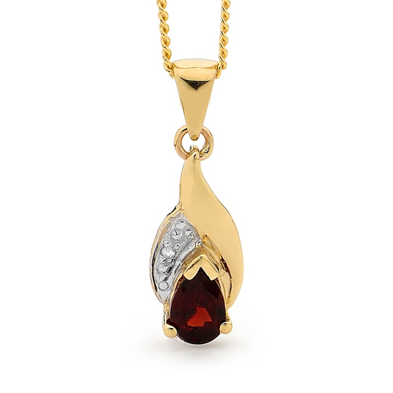 Garnet and Diamond Petal Pendant