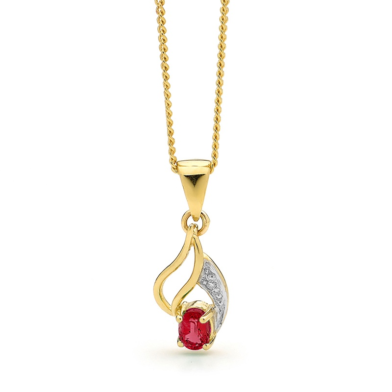 Ruby and Diamond leaf pendant