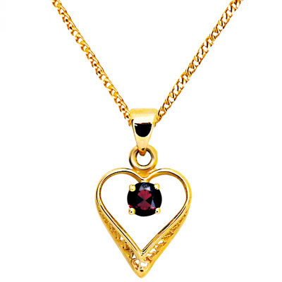 Romantic Garnet Heart Pendant