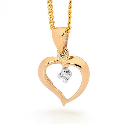 "9 carat yellow gold ""heart"" shape Diamond pendant"