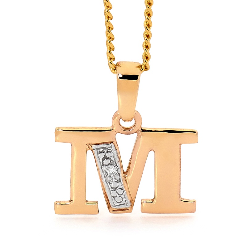 Diamond Set Block Initial M