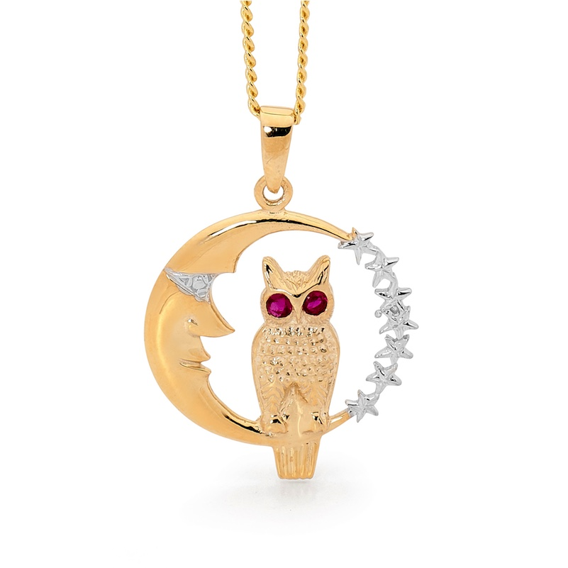 Owl and Moon Pendant with Ruby