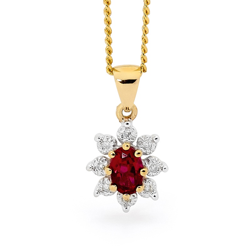 Red Ruby and Diamond Dress Pendant