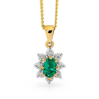 Emerald and Diamond Cocktail Pendant