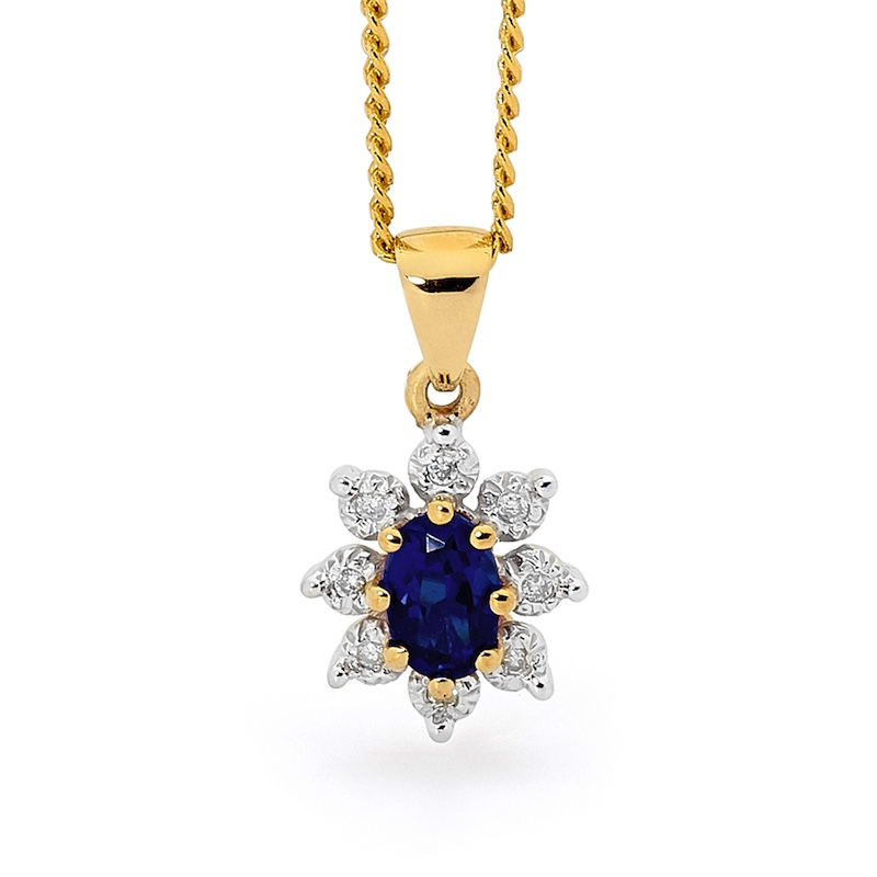 "Sapphire and Diamond Cluster Pendant ""Classic"""