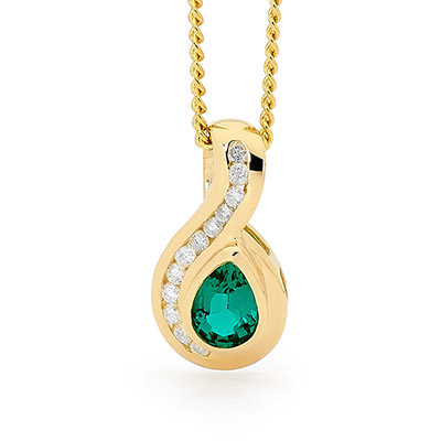 9 carat yellow gold Emerald and Diamond pendant