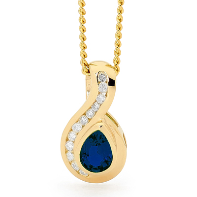 9 carat yellow gold Sapphire and Diamond pendant