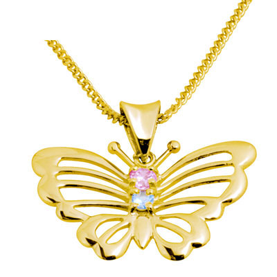 Gold Butterfly Pendant with Zirconia