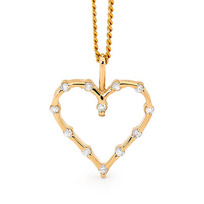 Open Diamond set heart pendant