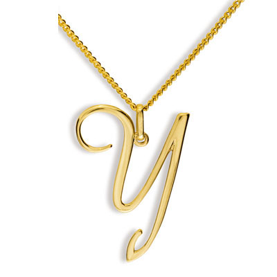 Gold Initial Pendant Y