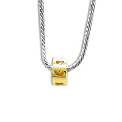 Gold Heart Bead on Silver Snake Chain