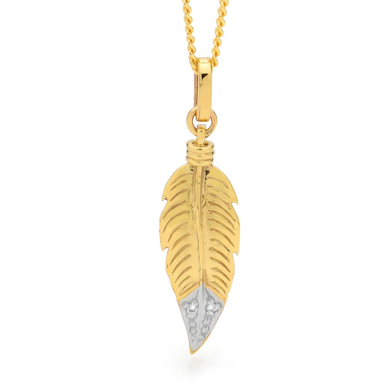 Gold Feather Pendant with Diamond