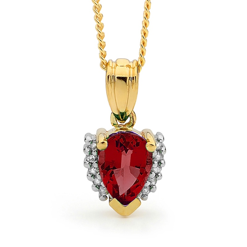 Ruby and Diamond Teardrop Pendant