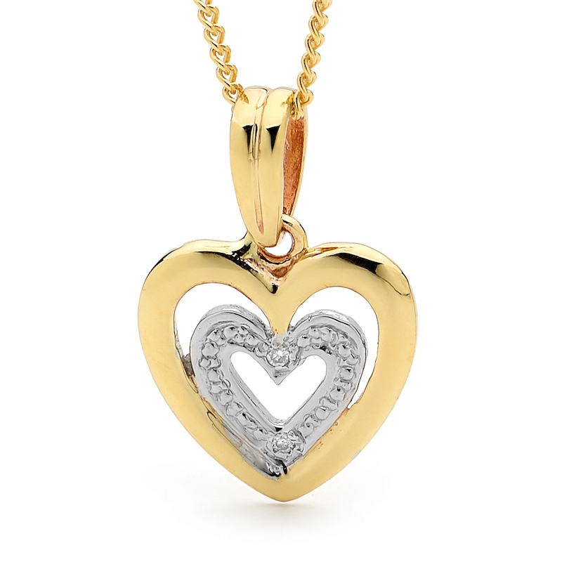 E11 - Diamond Set Heart Pendant