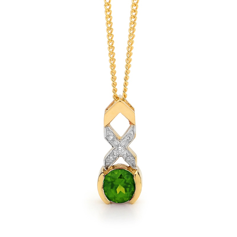 Emerald and diamond Kiss Hug Pendant
