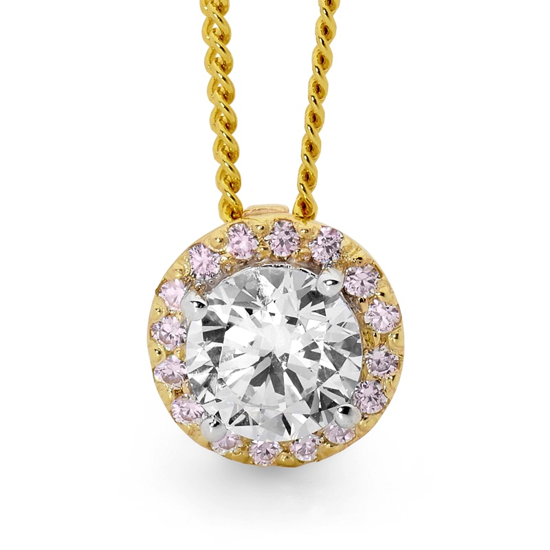 Pink and White Zirconia Halo Pendant