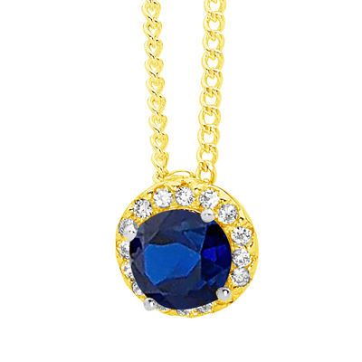 Created Sapphire Pendant with CZ Halo