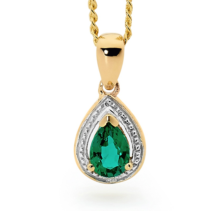 Teardrop Emerald and Diamond Pendant