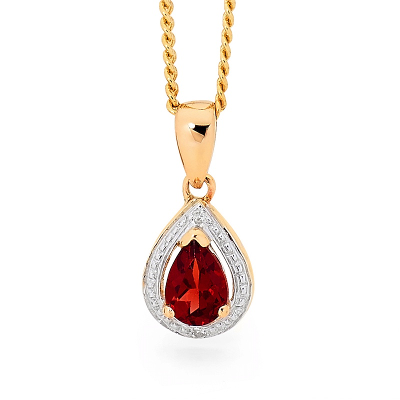 Teardrop Garnet and Diamond Pendant