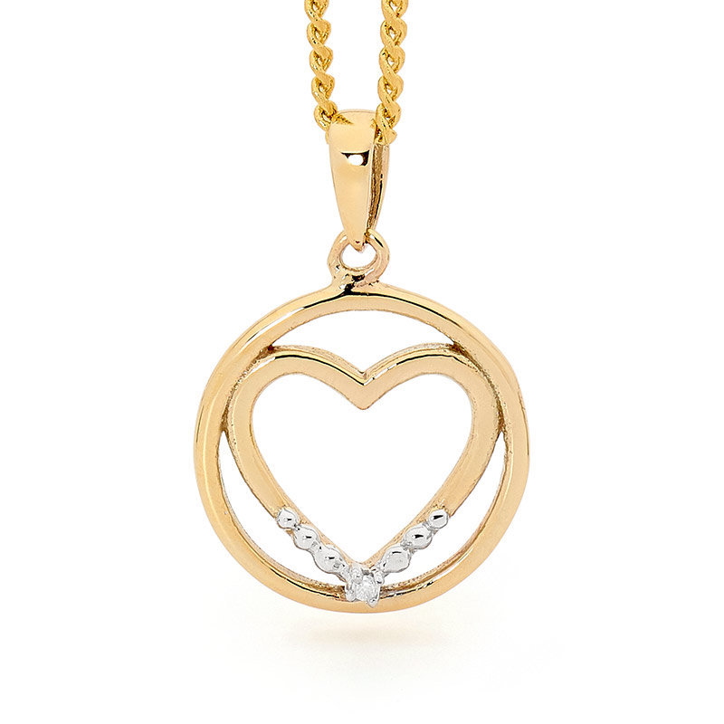 Heart in Circle Pendant - E07