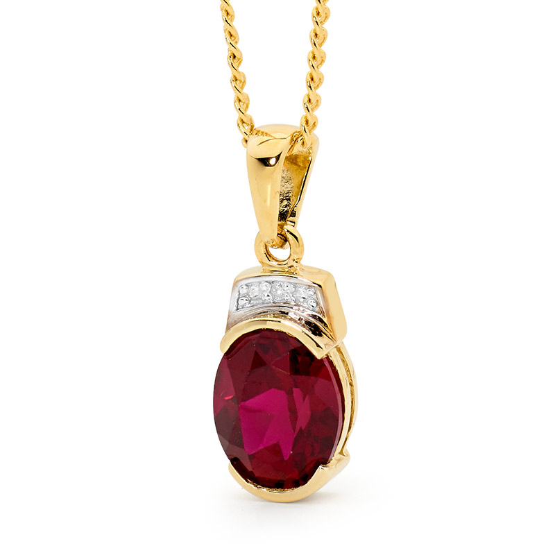 Classic Created Ruby and Diamond Pendant