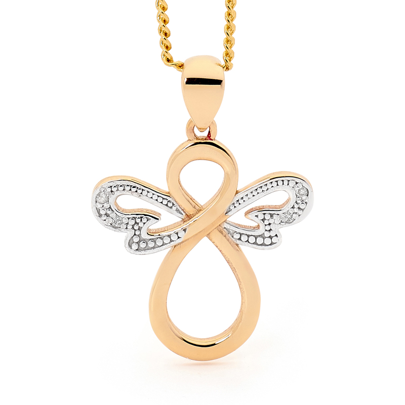Angel Pendant With Diamond Wings