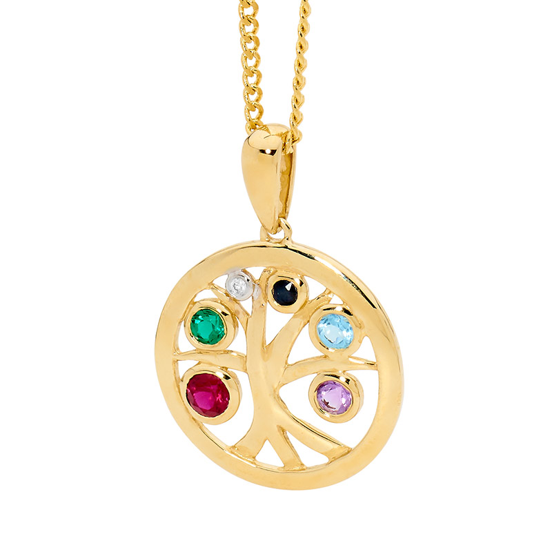 Tree of Life Pendant with Happy Gems