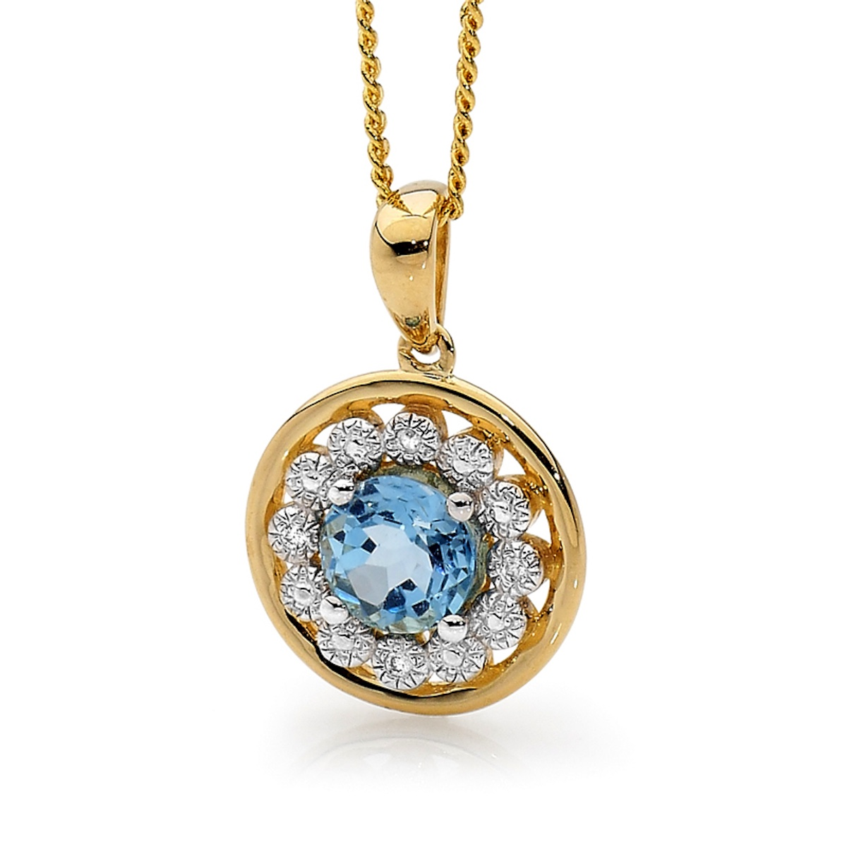Blue Topaz Circle Pendant with Diamonds