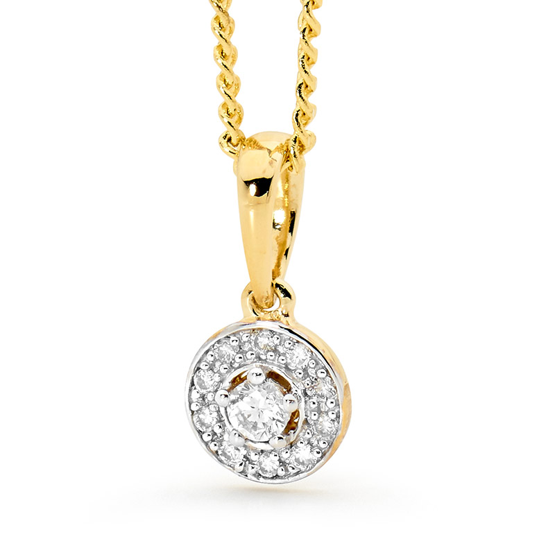 Diamond Halo Pendant - TDW 0.10 Carat