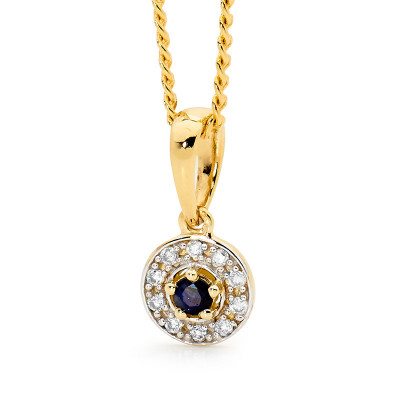 Sapphire Pendant with Halo of Diamonds