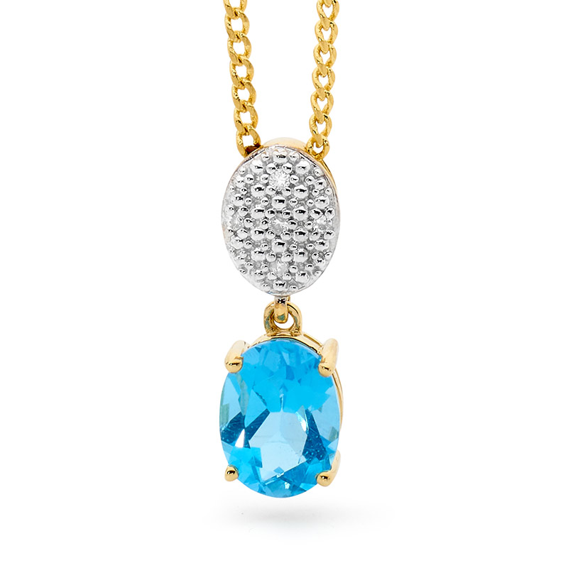 Oval Blue Topaz Drop Pendant