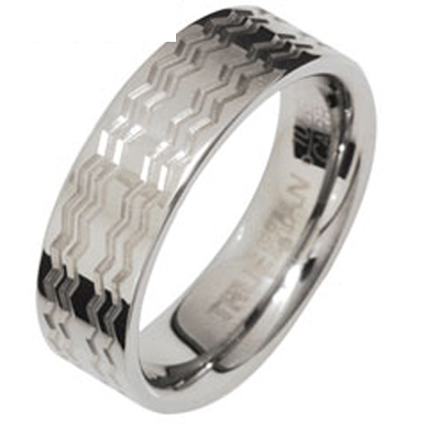 Tungsten Ring with Waves US Size 9.5