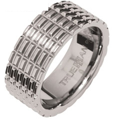 "Mens Tungsten Ring ""Tyre Track"" US Size 12.5"