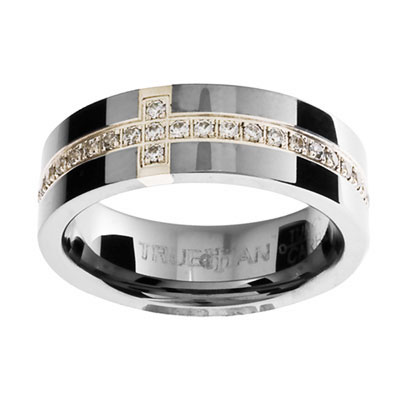 "Tungsten Ring ""Gem Set"" - US Size 8.5"