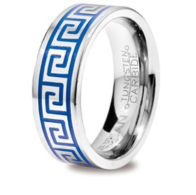 Tungsten Ring with Greek Key Inlay US Size 9