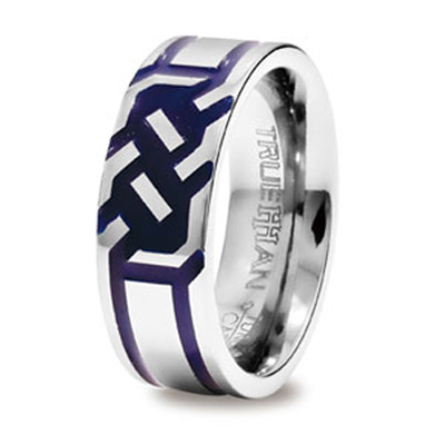 Engraved Tungsten Ring with Blue inlay. US Size 10.5