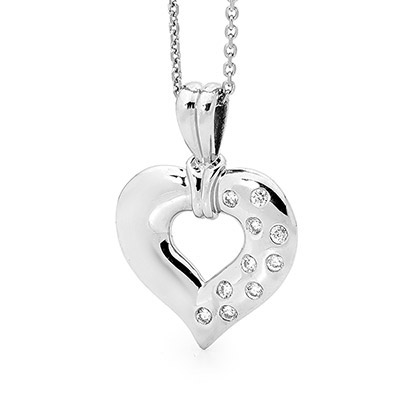 Diamond Platinum Heart Pendant