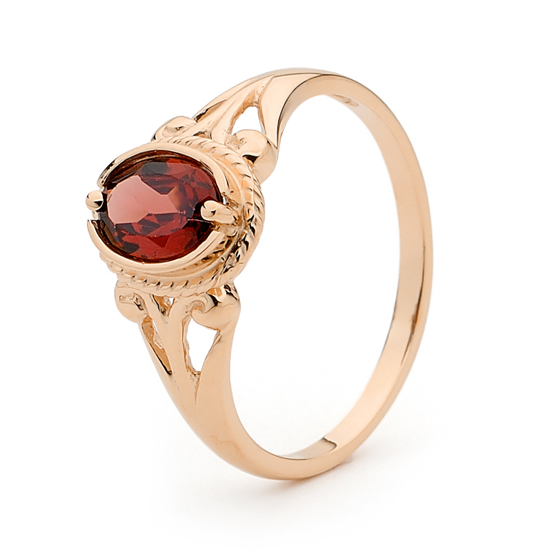 "Rose Gold Garnet Ring ""Antique Look"""
