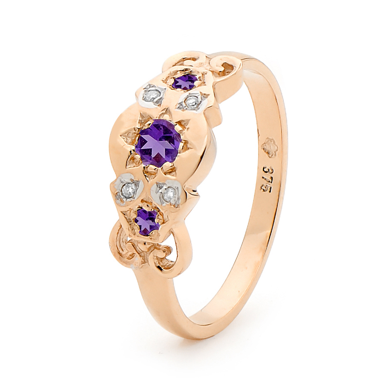 Antique Look Amethyst and Diamond Ring