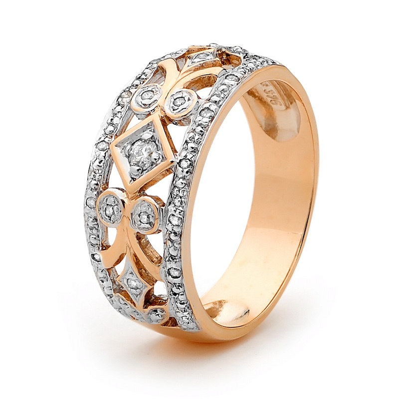 Rose Gold Deco Style Diamond Ring