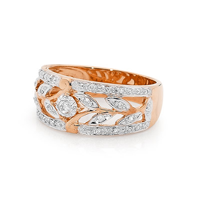 Rose Gold Dress Ring with Diamond Petals