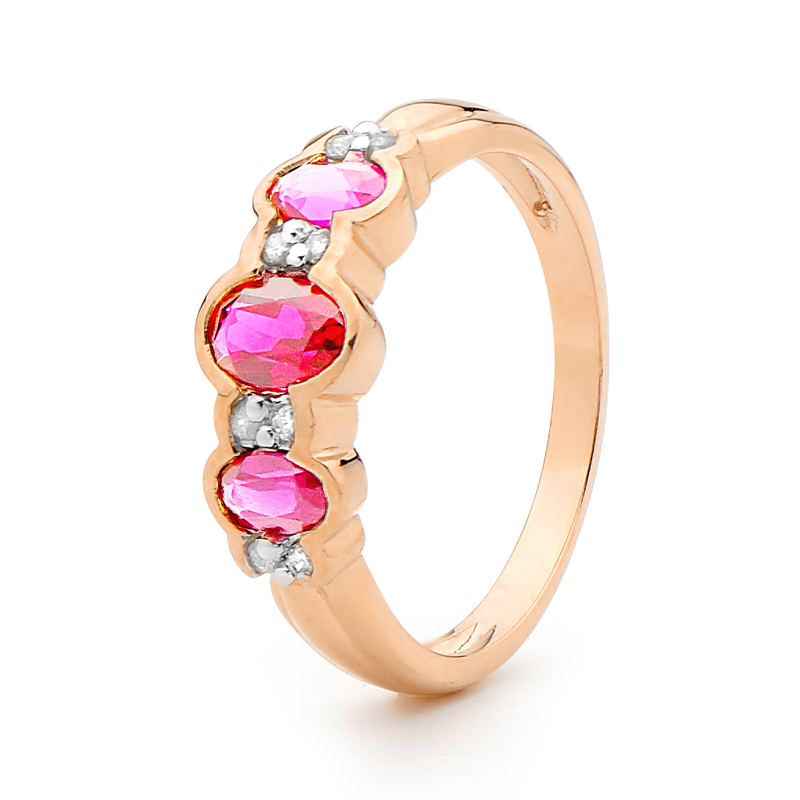 Created Pink Saphire Eternity Ring with Diamonds