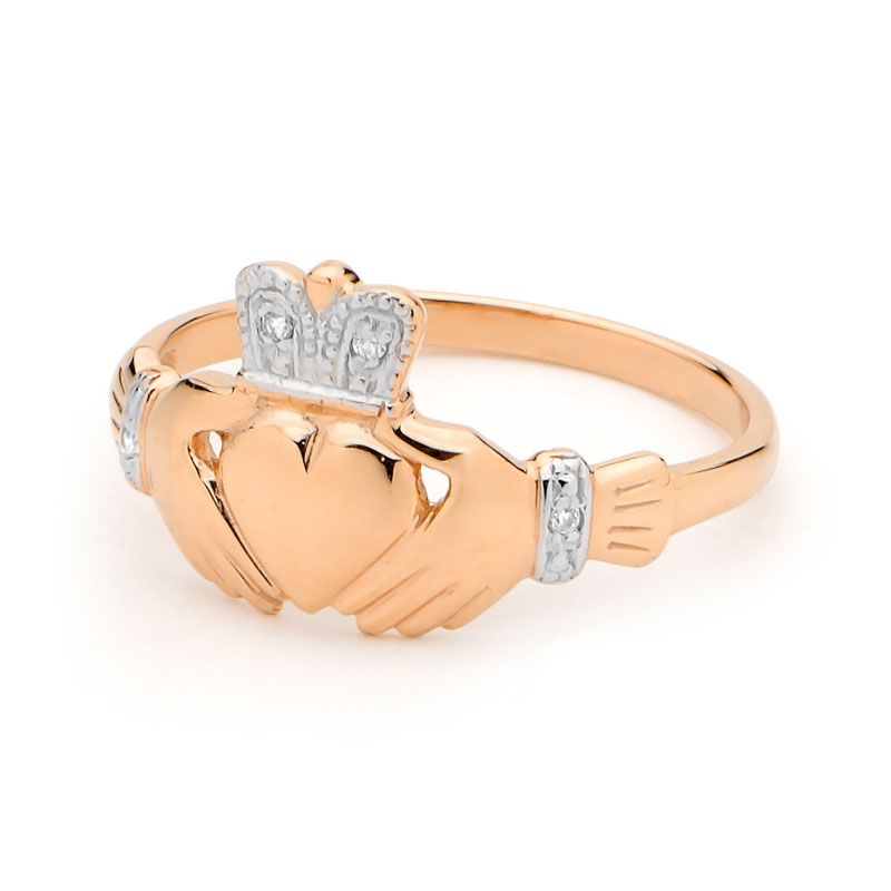 Diamond Crowned Claddagh Ring Rose Gold