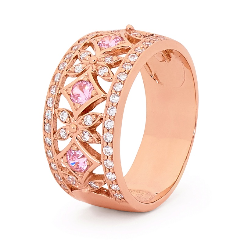 Pink CZ in Pink Gold Right Hand Ring